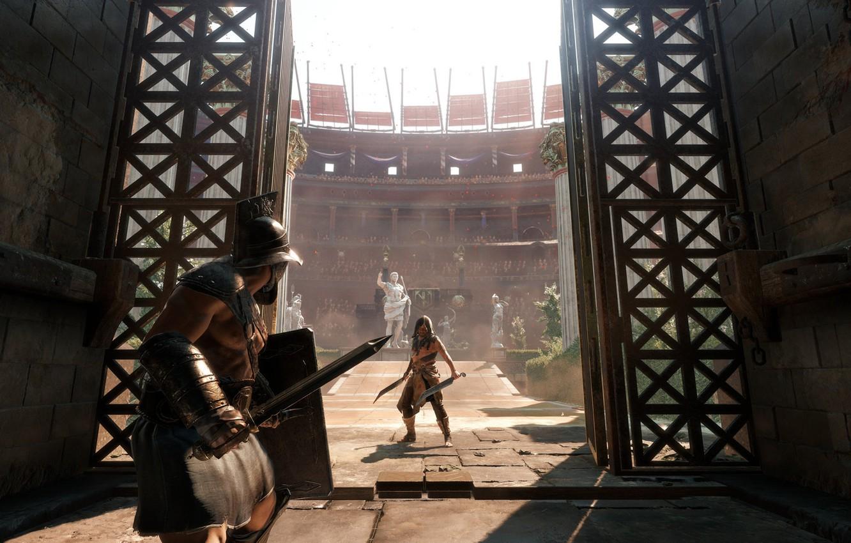 Фото обои оружие, ворота, арена, колизей, гладиаторы, Ryse: Son of Rome