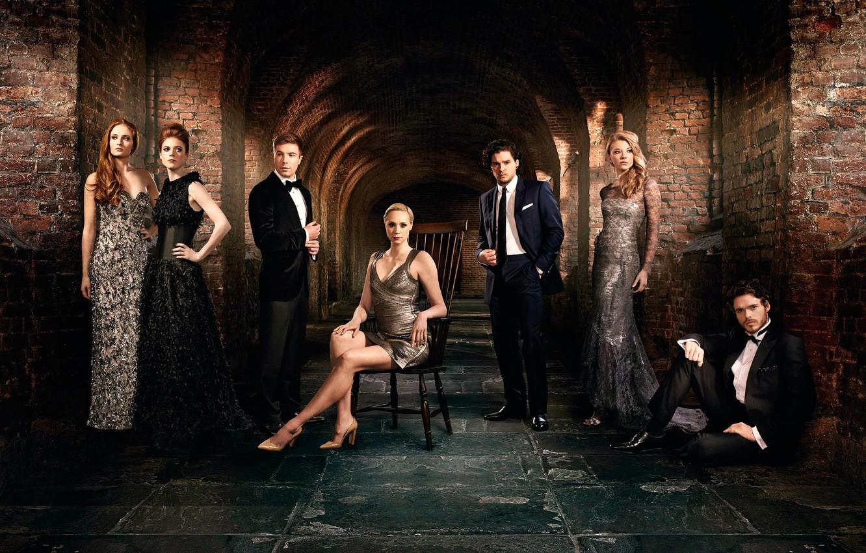 Фото обои актёры, сериал, актрисы, Game of Thrones, Игра престолов, Sophie Turner, Kit Harington, Rose Leslie, Natalie …