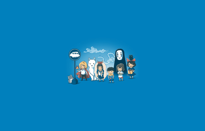 Фото обои аниме, арт, Хаяо Миядзаки, totoro, chibi, персонажи, spirited away, tonari no totoro, mononoke hime, ogino …