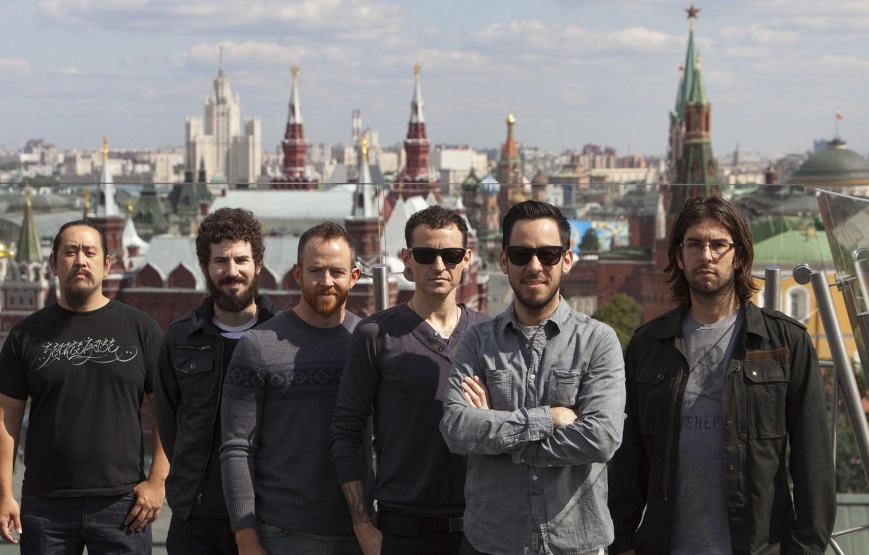 Фото обои Небо, Город, Рок, Группа, Linkin Park, Альтернативный рок, Ню-метал, Рэпкор
