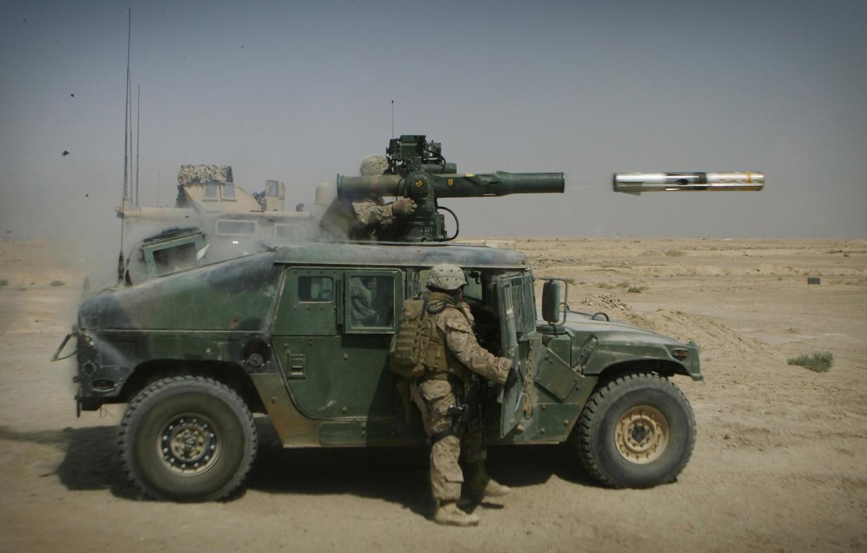 Фото обои ракета, солдат, hummer, tow