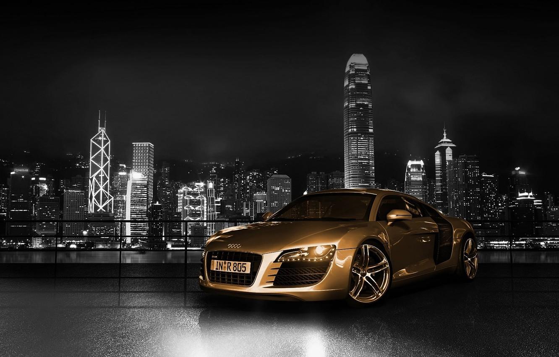Фото обои машина, авто, audi r8, gold
