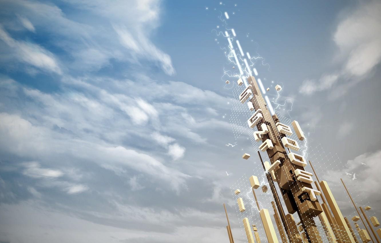 Фото обои небо, облака, разряд, сигнал