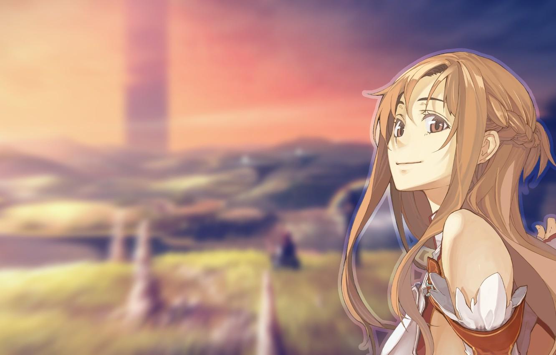 Фото обои девушка, улыбка, размытый фон, sword art online, yuuki asuna