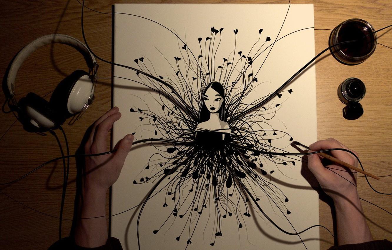 Фото обои девушка, рисунок, рабочий стол, дектоп