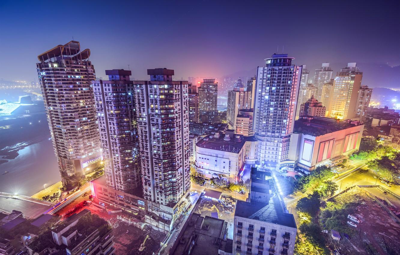 Фото обои Ночь, Город, Небоскребы, Китай, Chongqing