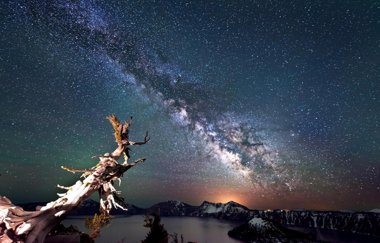 Фото обои небо, звезды, млечный путь, Oregon, landscape, night sky, Crater Lake, Crater Lake National Park