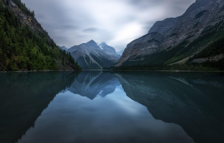 Фото обои небо, деревья, горы, природа, озеро, отражение, nature, water, Brian Krouskie, lake louise
