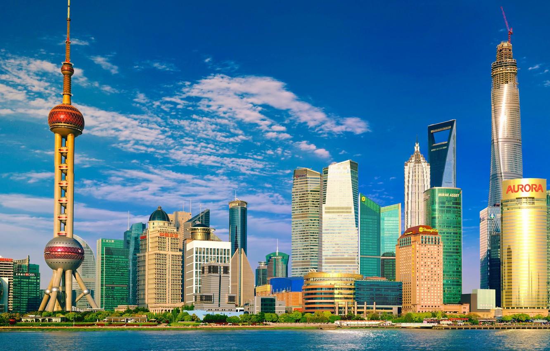 Фото обои небо, город, день, панорама, Shanghai, Шанхай