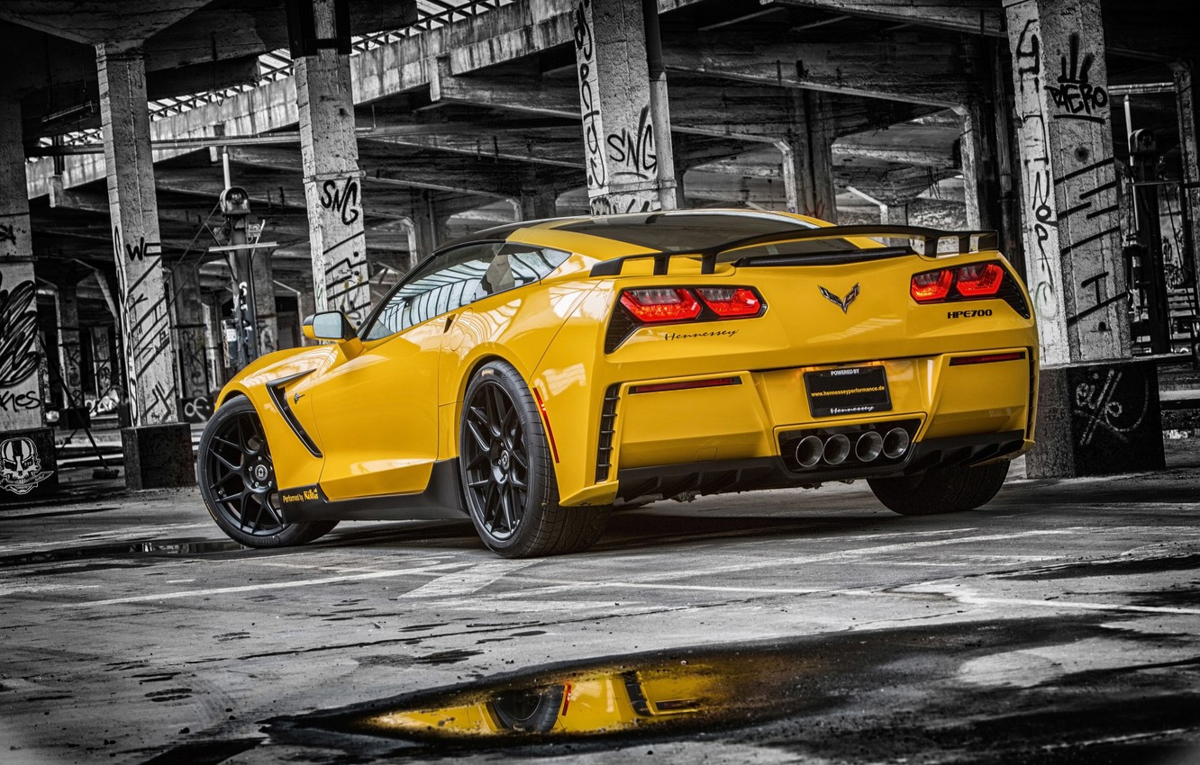 Фото обои Corvette, Chevrolet, Muscle, Car, Yellow, Stingray, Rear, HPE700, 2015, Ruffer