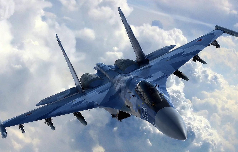 Обои сверхманевренный, Самолёт, многоцелевой, Su-35. Авиация foto 6