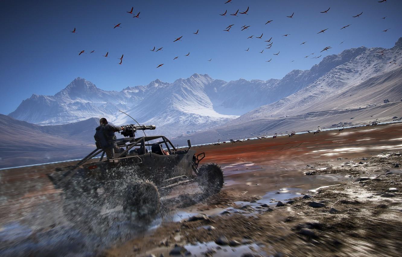 Фото обои горы, Машина, пулемет, Ghost Recon Wildlands