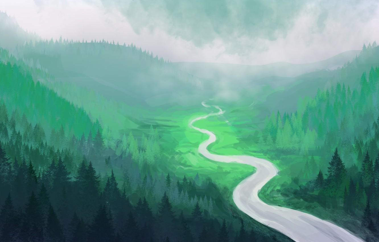 Фото обои лес, река, холмы, арт, ёлки, нарисованный пейзаж