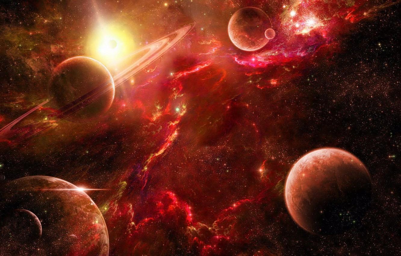 Фото обои космос, звезды, туманность, планеты, space, красные, red, nebula, stars, planet