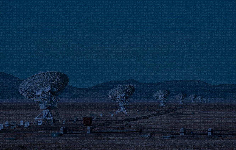 Фото обои антенна, цифры, технология, радиотелескоп, коды