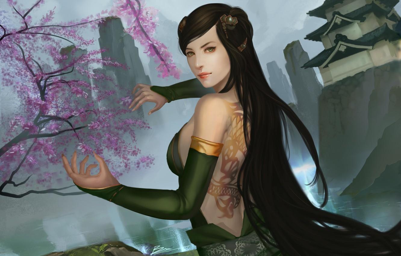 Фото обои девушка, горы, скалы, руки, сакура, арт, татуировка, храм, спиной, dragon clan, legend of five rings