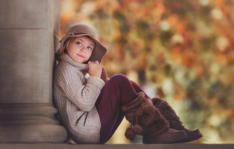 Фото обои осень, шапка, портрет, девочка, сапожки