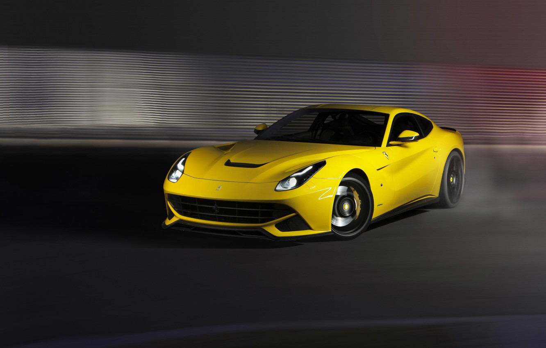 Фото обои Ferrari, yellow, f12, berlinetta, novitec rosso