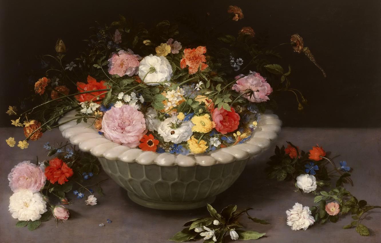 Фото обои цветы, букет, натюрморт, живопись, Арт, золотой век