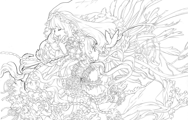 Фото обои девушка, рисунок, чёрно-белое, аниме, арт, белый фон, kaisen