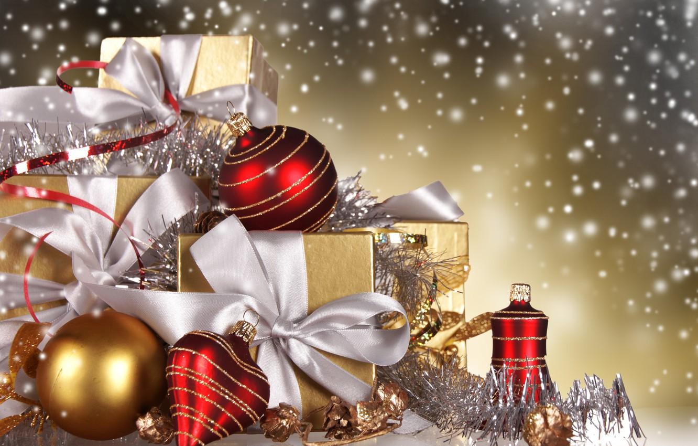 Обои подарок, Коробка, рождество, ёлочные украшения, золотые, шарики. Новый год foto 6