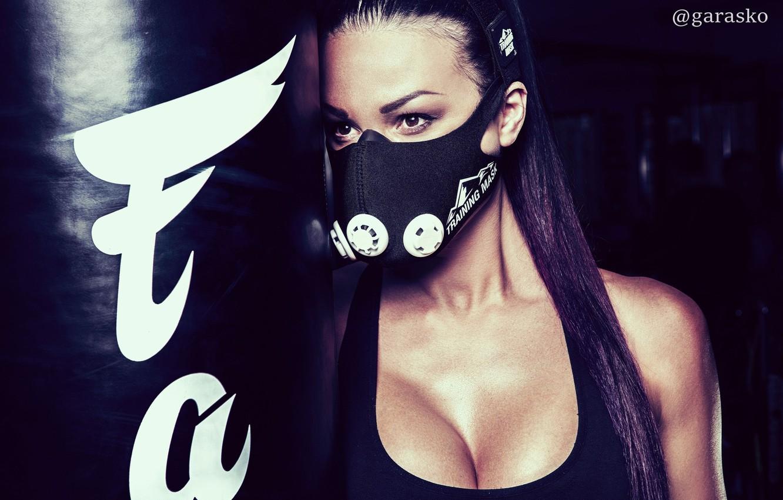 Фото обои грудь, девушка, спорт, майка, брюнетка, маска, груша, photographer, fitness model, Pavel Garasko, Oxy Konovalova