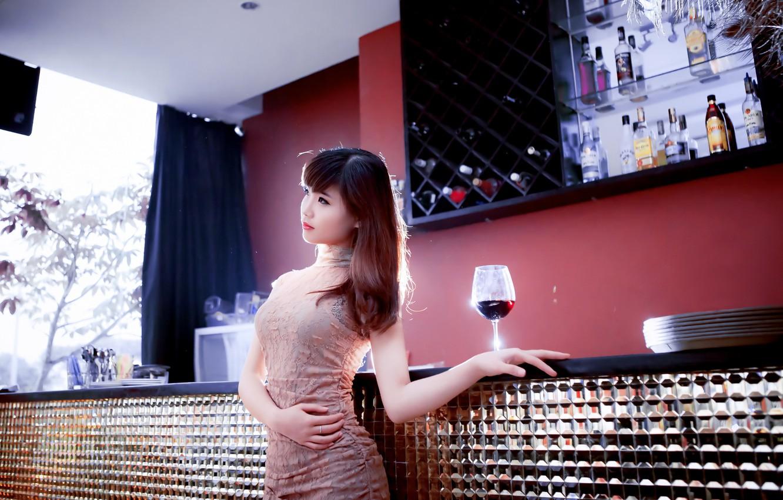 Фото обои девушка, настроение, вино, бокал, азиатка