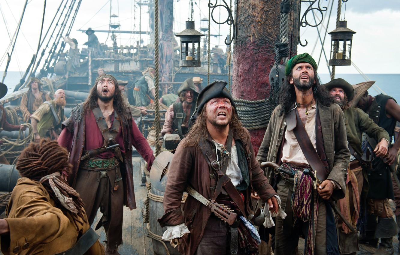 Фото обои Пираты Карибского моря, судно, pirates of the caribbean, взгляды, изумление
