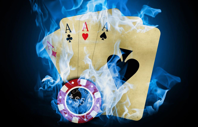 Фото обои карты, огонь, покер, казино, фишка