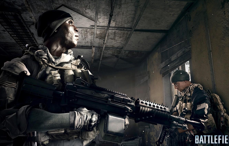 Фото обои комната, солдат, пулемёт, Battlefield 4