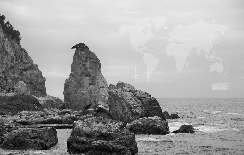 Фото обои море, небо, скала, настроение