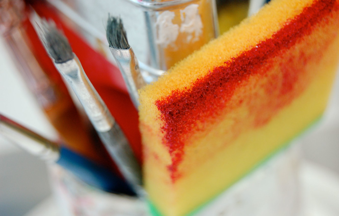 Фото обои color, sponge, Paintbrush
