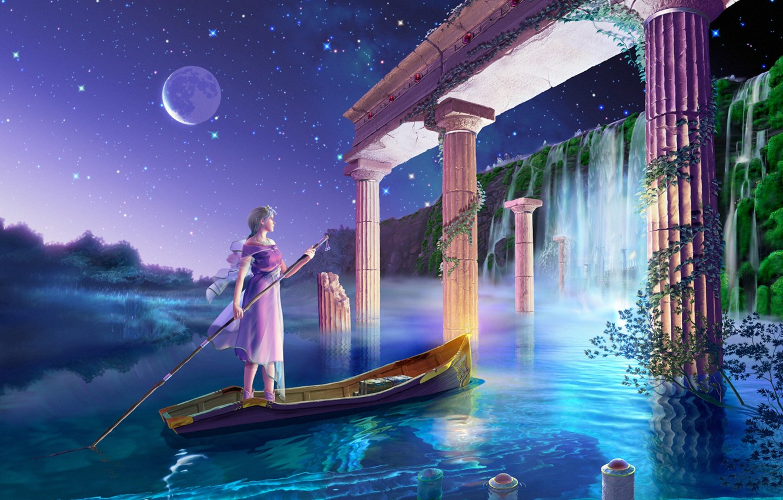 Фото обои волны, вода, девушка, city, город, блики, будущее, река, фантастика, водопад, звёзды, фэнтези, future, арка, колонны, …