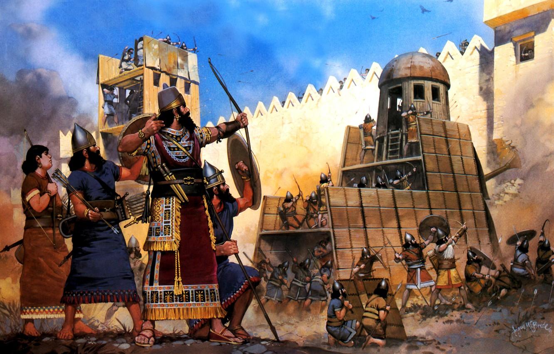 Фото обои рисунок, арт, крепость, таран, штурм, осада, лучники, копейщики, ассирийцы, щитоносцы, XIII век до н. э., …