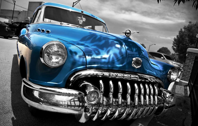 Фото обои ретро, HDR, Бьюик, автомобиль, классика, передок, 1950, Buick