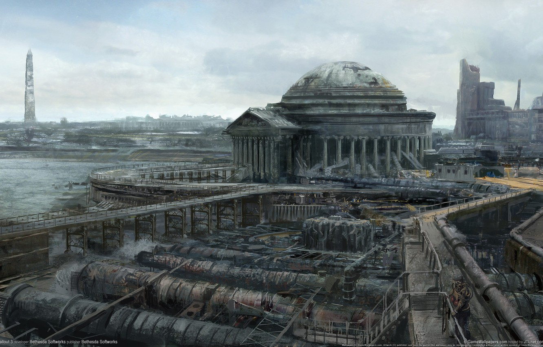 Фото обои город, руины, fallout