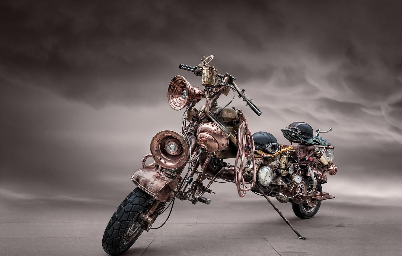 Фото обои мотоцикл, стимпанк, байк