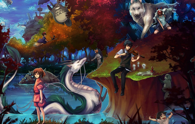 Фото обои девушки, аниме, арт, парень, принцесса мононоке, мой сосед тоторо, totoro, spirited away, tonari no totoro, …