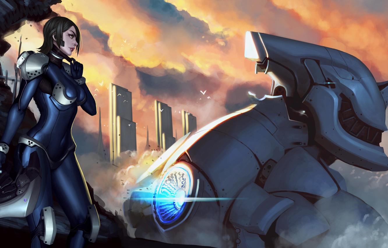 Фото обои девушка, облака, город, робот, арт, шлем, меха, гигантский