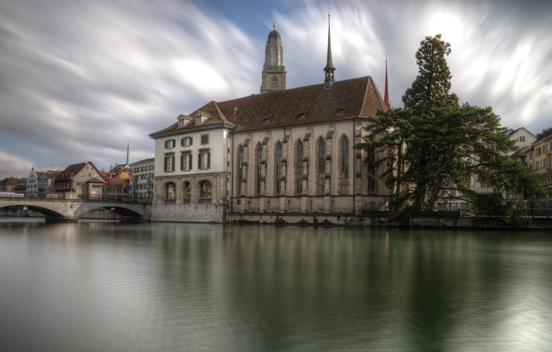 Фото обои облака, мост, река, дерево, дома, Швейцария, собор, Zurich