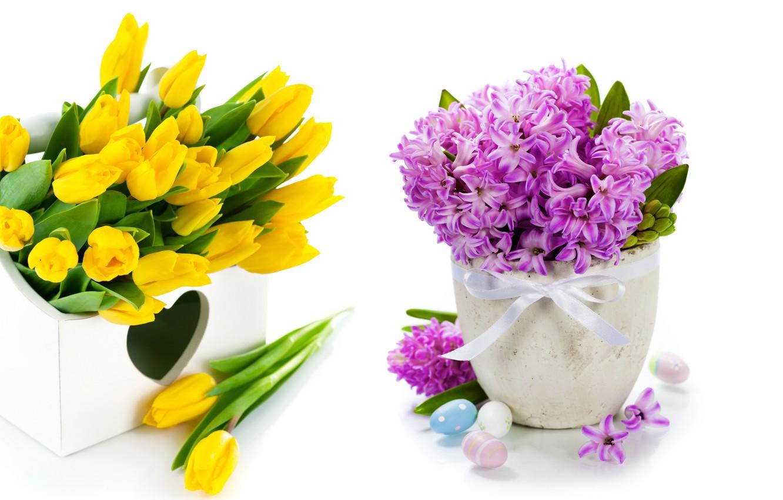 Фото обои яйца, букет, тюльпаны, flowers, tulips, spring, easter, гиацинты, lilac