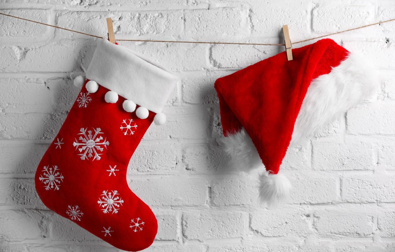новогодний носок открытка призваны