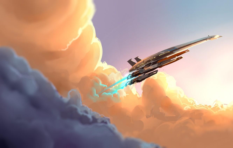 Фото обои облака, фантастика, mass effect, art, normandy