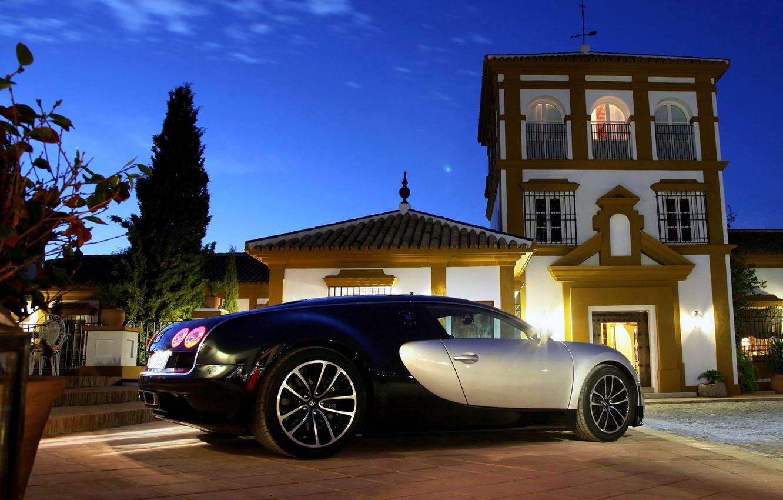 Фото обои Ночь, Машина, Бугатти, Свет, Вейрон, Car, Bugatti Veyron, Автомобиль, Wallpapers, Supercar, 16.4, Обоя, Задок, SuperSport, …