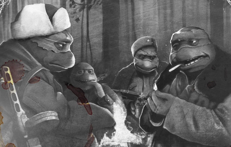 Фото обои война, ссср, ниндзя, Рафаэль, черепашки, Донателло, Леонардо, Микеланджело