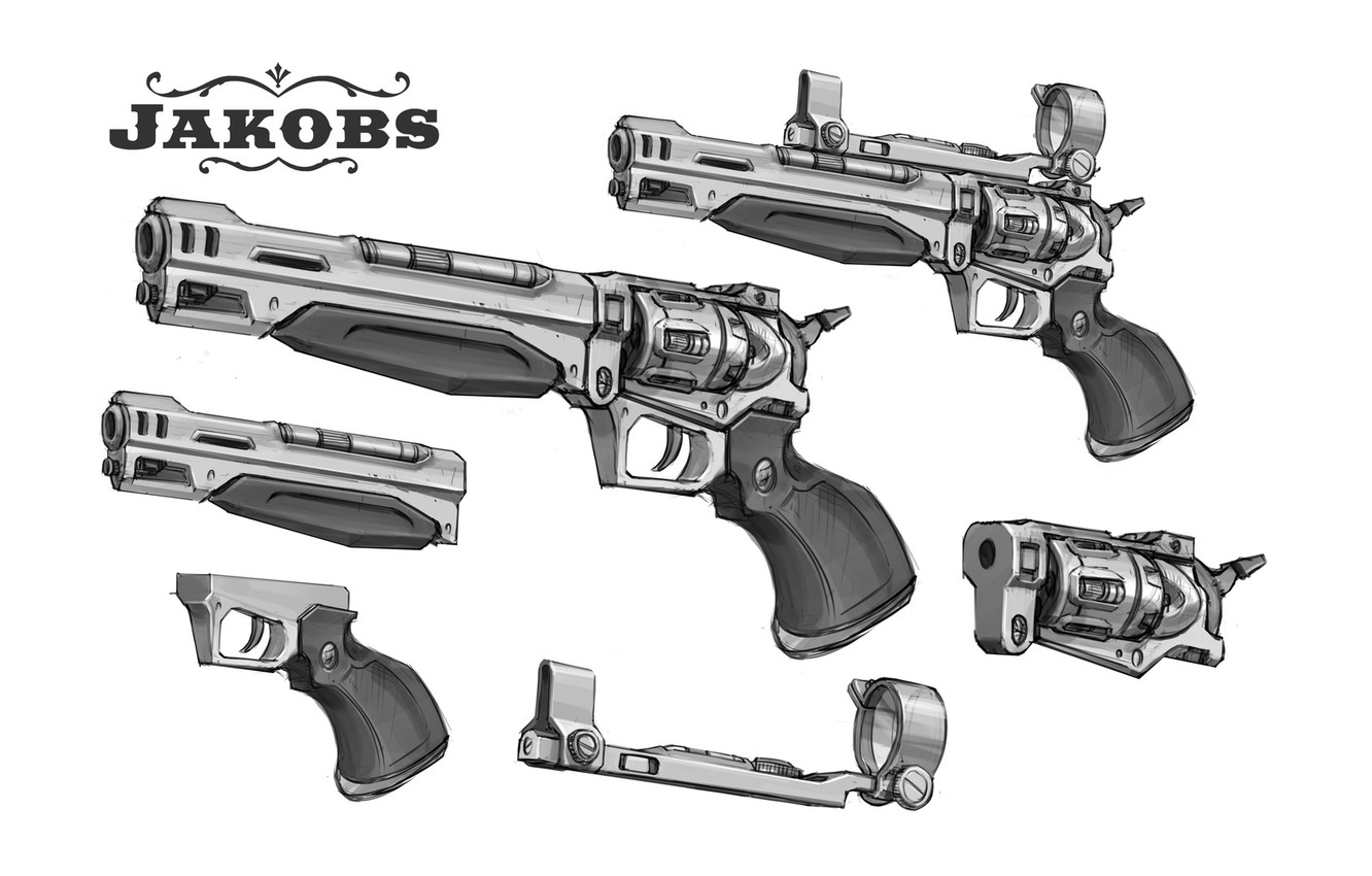 Фото обои guns, design, revolver, Borderlands 2, sketches, Jakobs