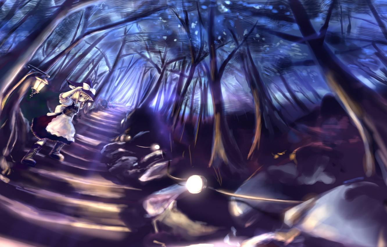 Фото обои дорога, лес, девушка, деревья, ночь, природа, аниме, арт, фонари, Touhou, Kirisame Marisa