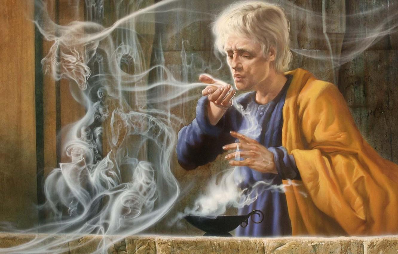 Фото обои магия, дракон, дым, лампа, дух, арт, мужчина, колдун