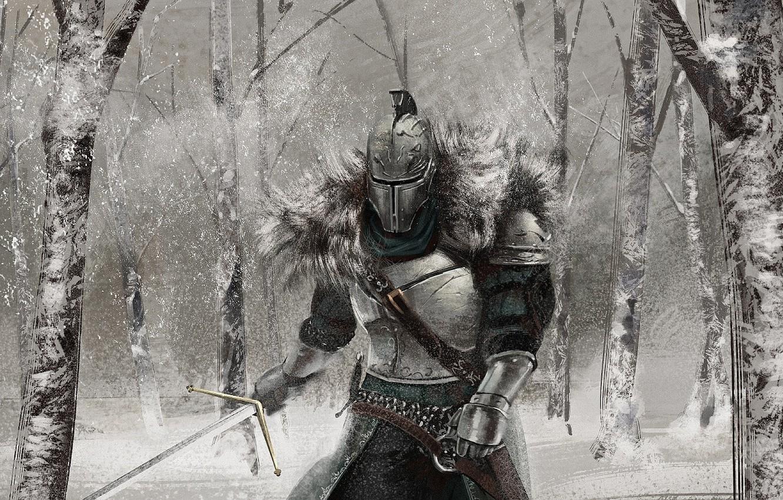 Фото обои зима, лес, снег, меч, доспехи, арт, рыцарь, Dark Souls 2, Dark Souls II