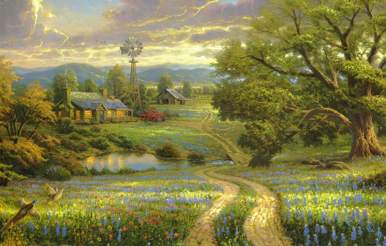 Фото обои поле, машина, цветы, горы, птицы, природа, озеро, дом, дерево, деревянный, house, живопись, мостик, большое, flowers, …